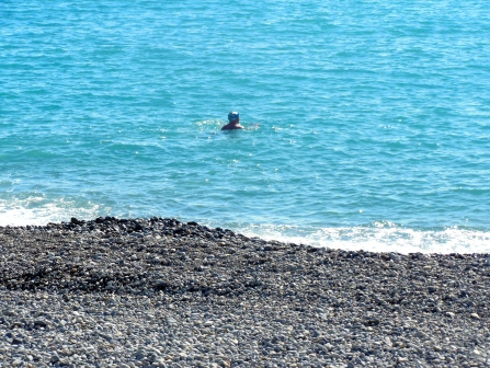 One dedicated swimmer. It's the Mediterranean, but it's still February.