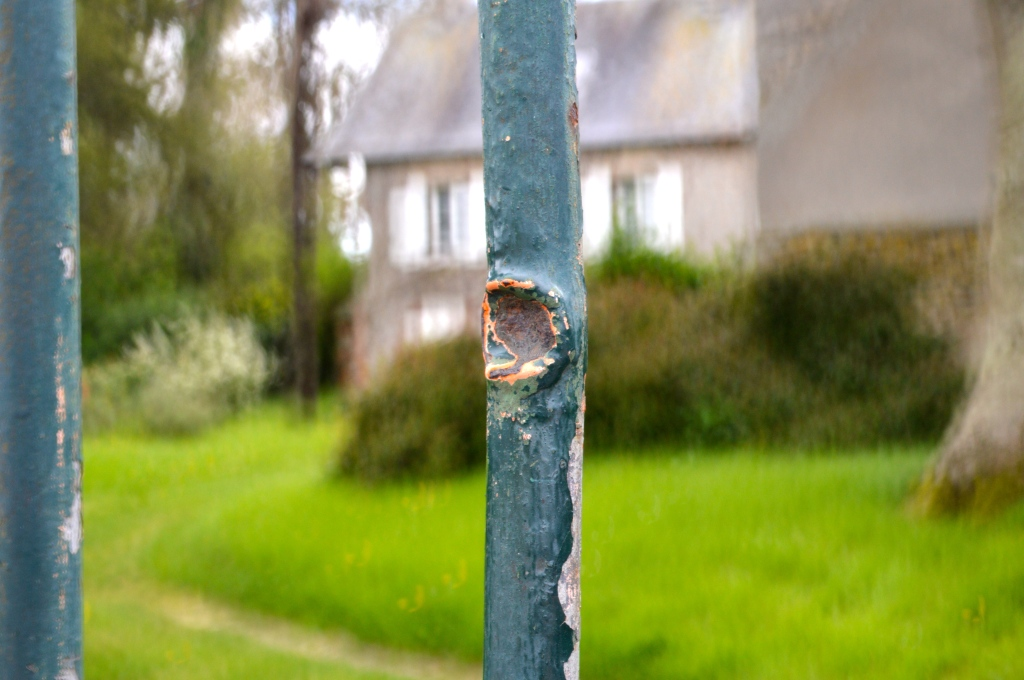 A remaining bullet hole