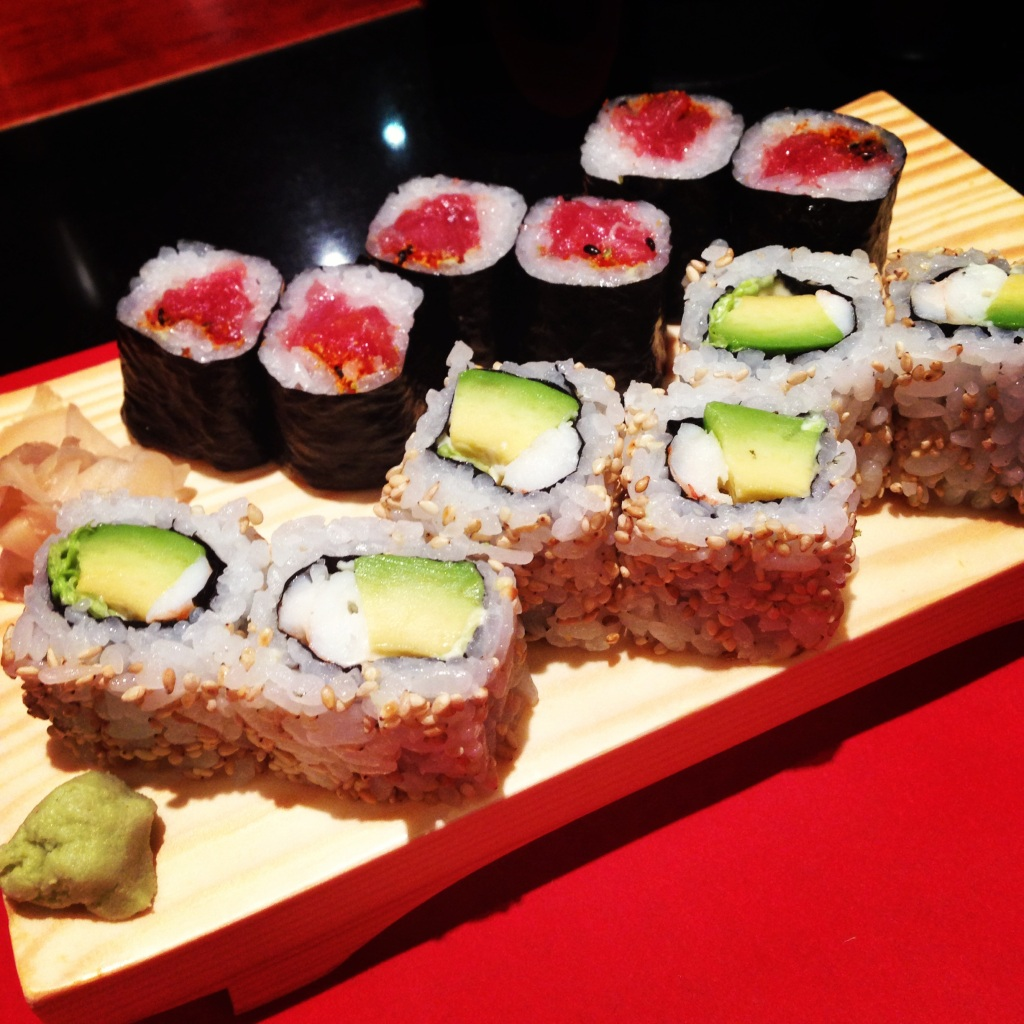 A California Roll and Spice Tuna…not too creative, but still delicious.